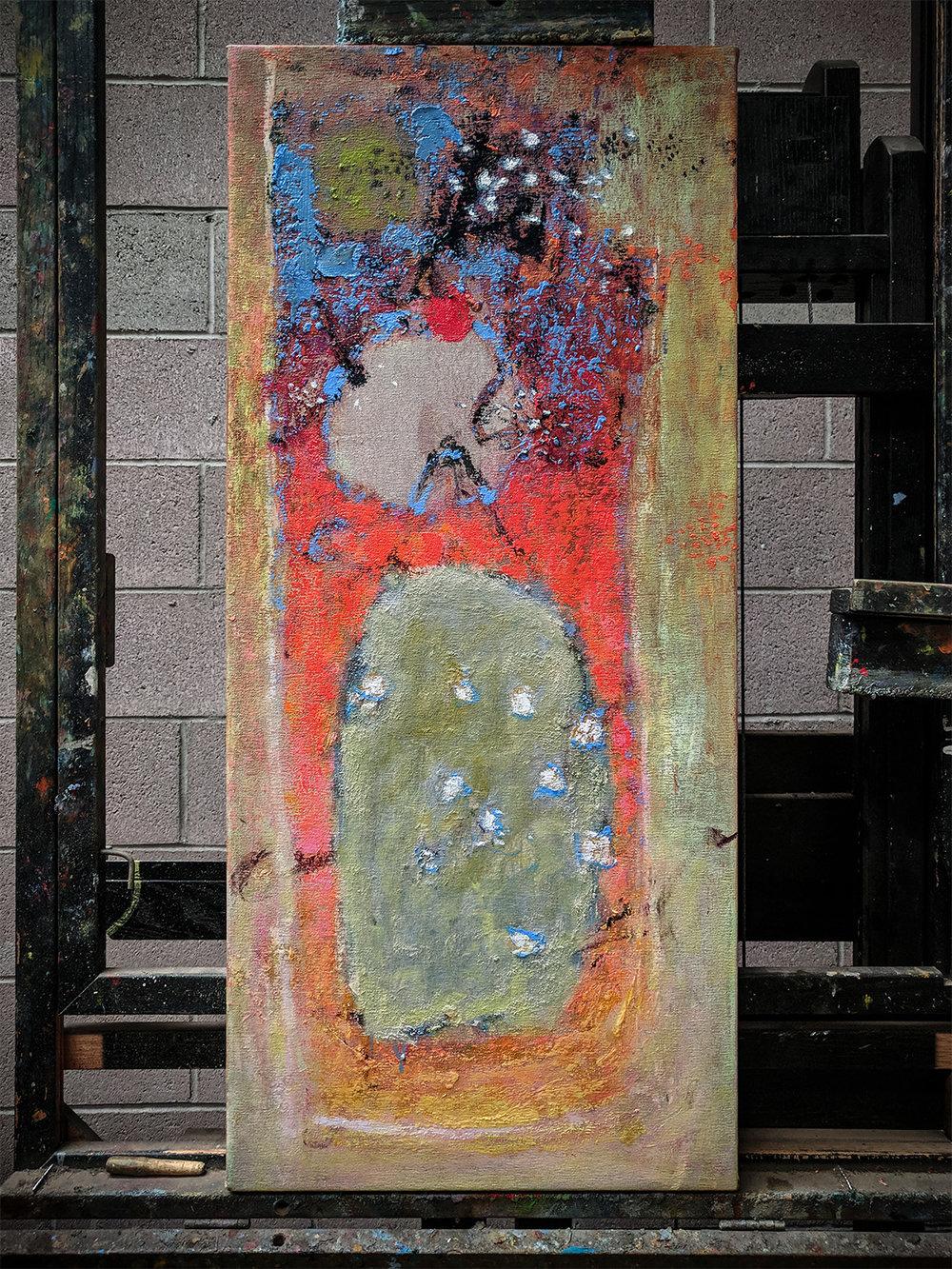 smaller oil on canvas in progress at Santa Fe studio
