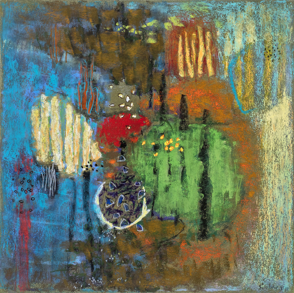"Spheric Rhythms     pastel on paper   14 x 14""   2018"