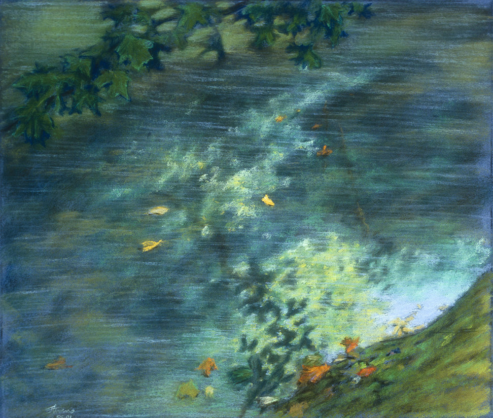 View from the Riverbank  | pastel on paper | 14 x 17"