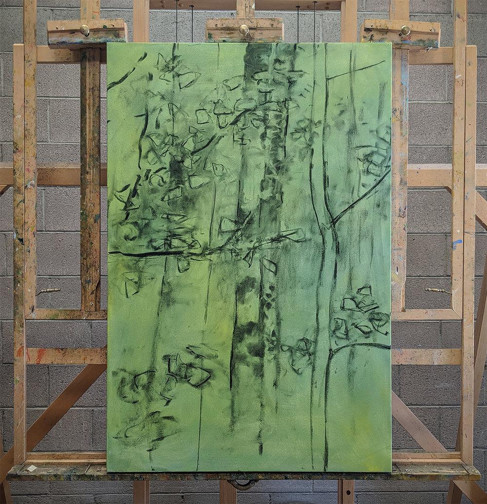 oil on canvas in progress at the studio in Santa Fe, NM