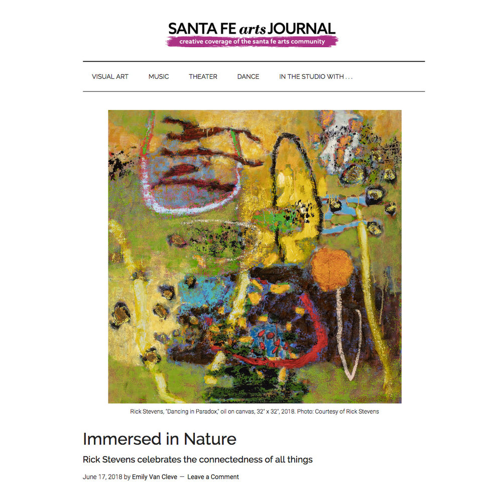 Thank you to Emily Van Cleave at the Santa Fe Journal for highlighting Rick's upcoming exhibition. Opening Friday! https://santafeartsjournal.com/2018/06/immersed-in-nature/