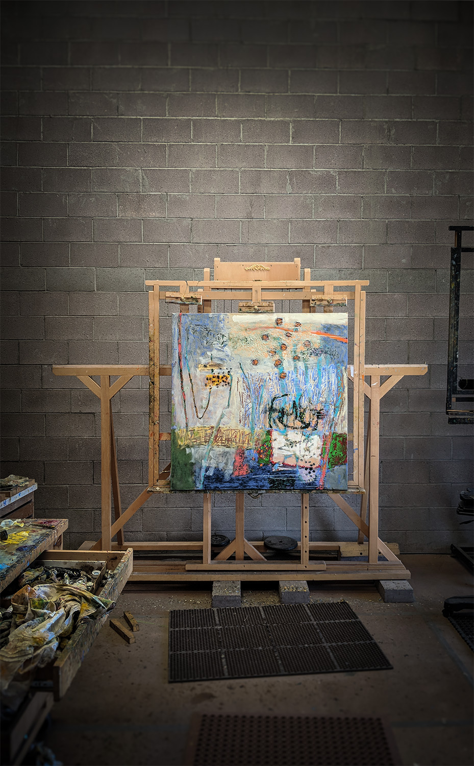 "48 x 48"" oil on canvas in progress in Santa Fe, NM"