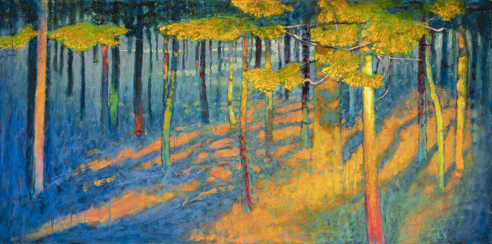 Last Light in the Pines  | oil on canvas | 36 x 72"