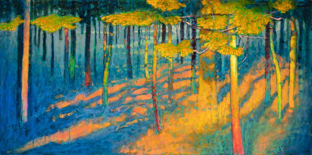 """Last Light in the Pines    oil on canvas   36 x 72"""""""