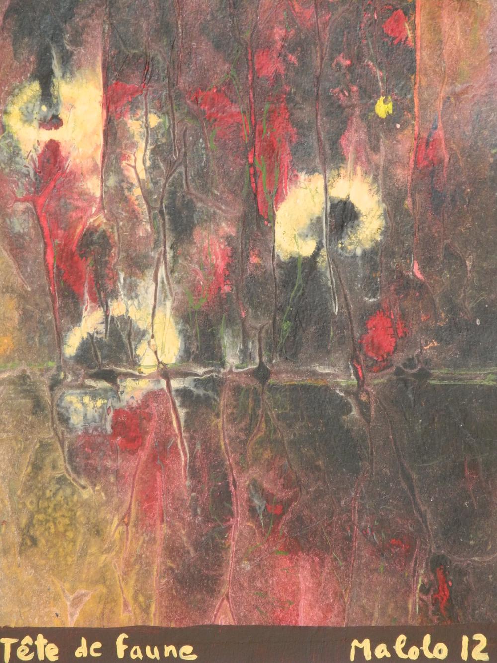 Rencontre avec le faune                  (Lorraine Camerlain, Tête de faune, acrylique sur papier de soie)