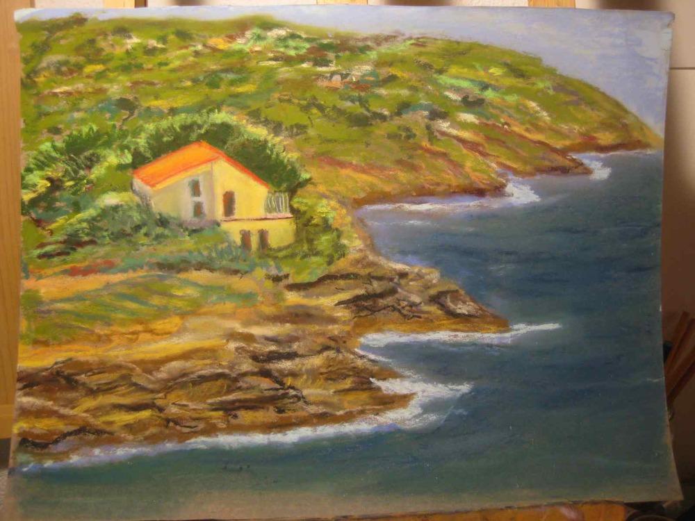 Naregno, Île d'Elbe, pastel sec, Raúl Mariaca.