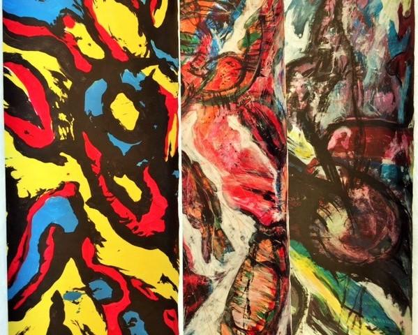 Trois feuilles superposées d'une série d'œuvres sur papier de Jean-François Leclerc