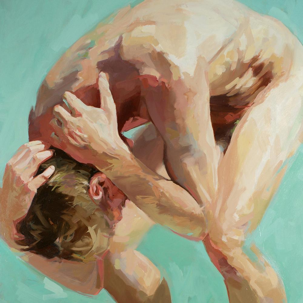 Two Men Meet, détail d'un diptyque, huile sur toile, 72 x 48 po (chaque panneau) © David Edwards