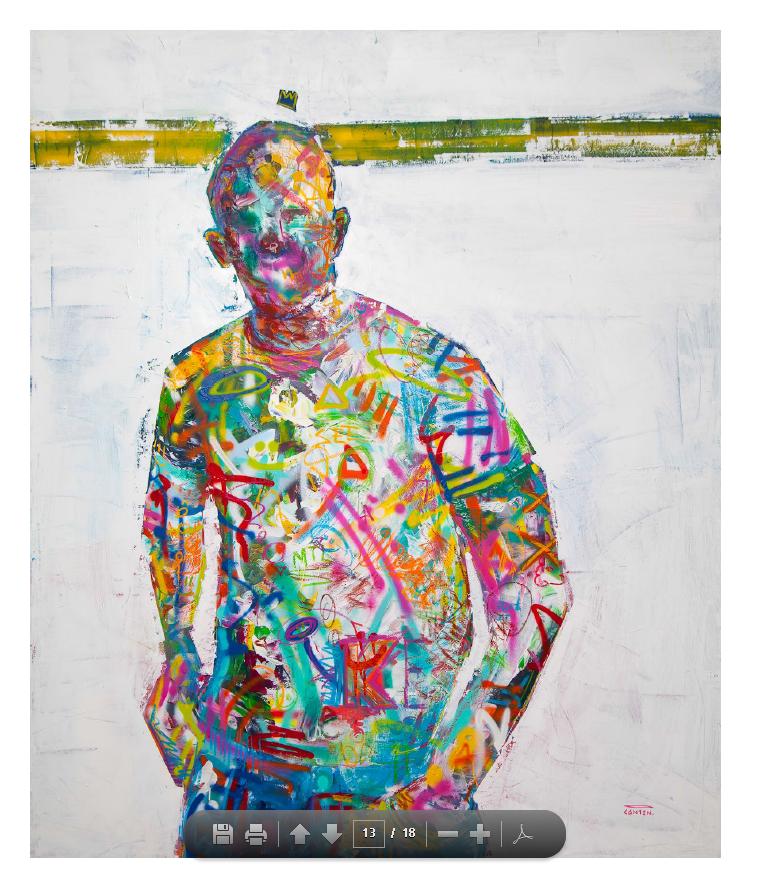 """Ligne de post-it , acrylique, aérosol, marqueurs posca et pastel à l'huile sur toile. 60"""" x 72""""."""