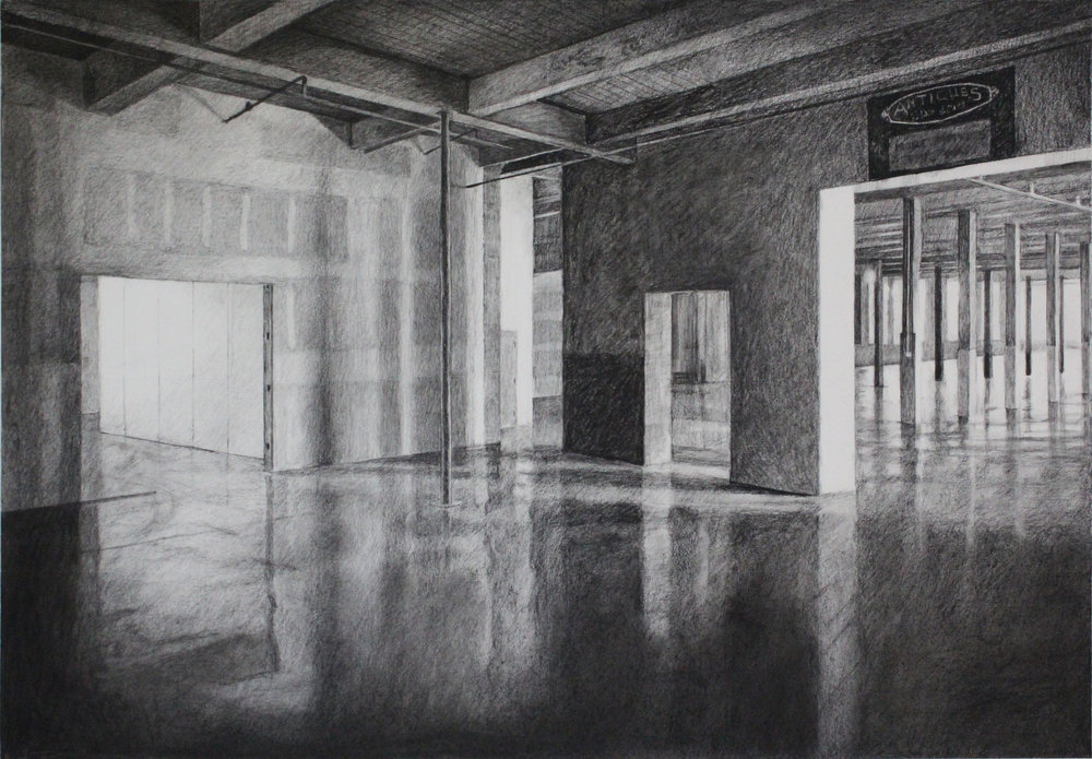 "Mooresville 22"" x 30"" Charcoal on Paper"