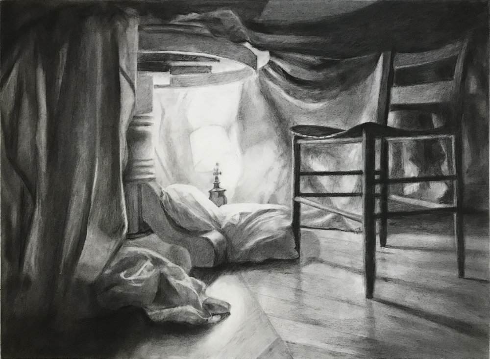"""Blanket Fort 22"""" x 30"""" Graphite & Charcoal on Paper"""