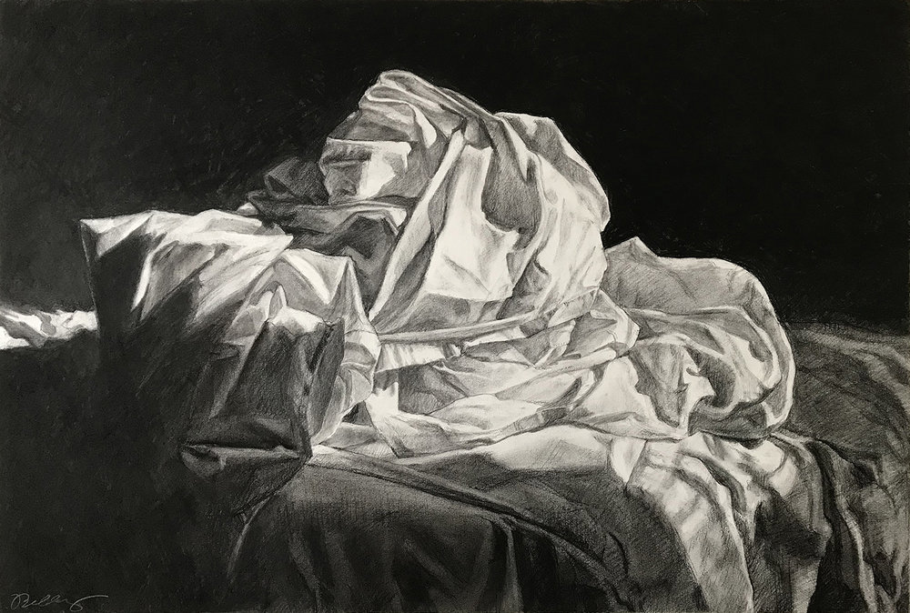 "Laundry 19"" x 30"" Charcoal on Paper"