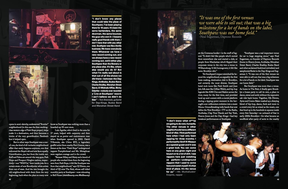 Feature on defunct Brooklyn venue Southpaw for  Brooklyn Bound , Issue 1, Summer 2012