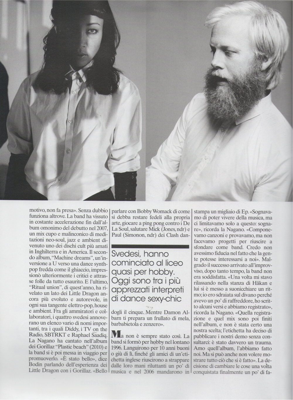Feature on Swedish band Little Dragon for  L'Uomo Vogue , November 2011
