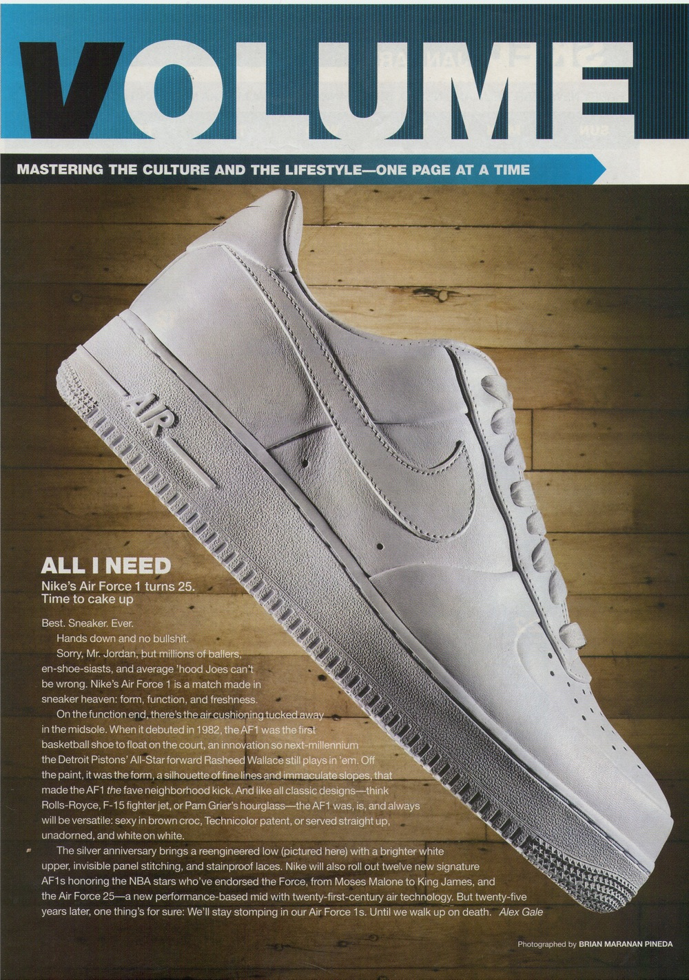 Essay on 25th Anniversary of Nike's Air Force 1 sneaker for  Vibe , 2007