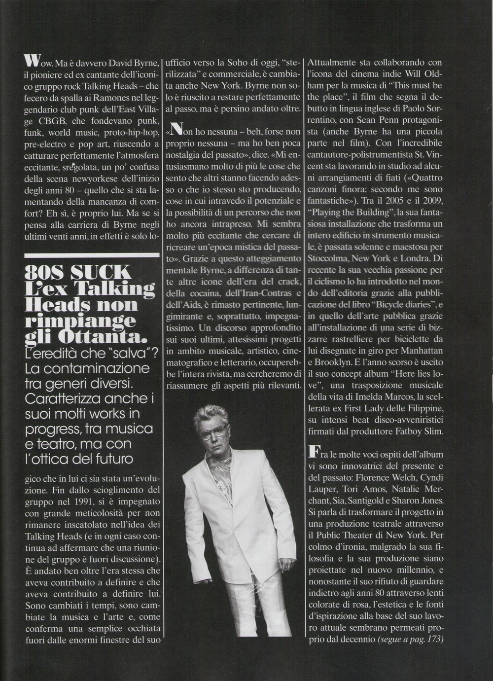 Cover story on David Byrne for  L'Uomo Vogue , April 2011