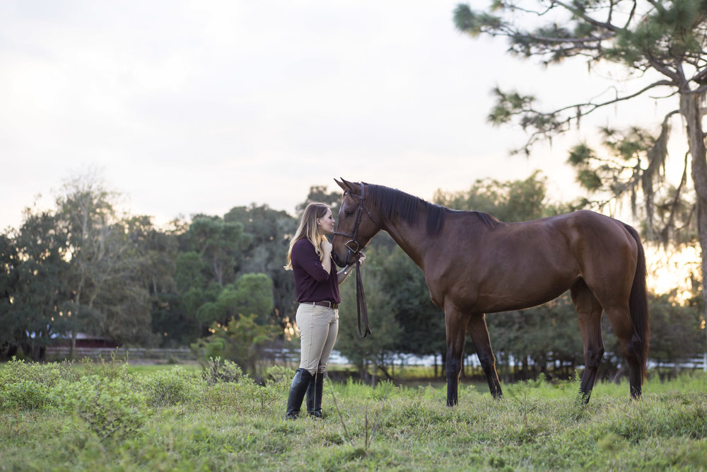Horse and young girl standing in field