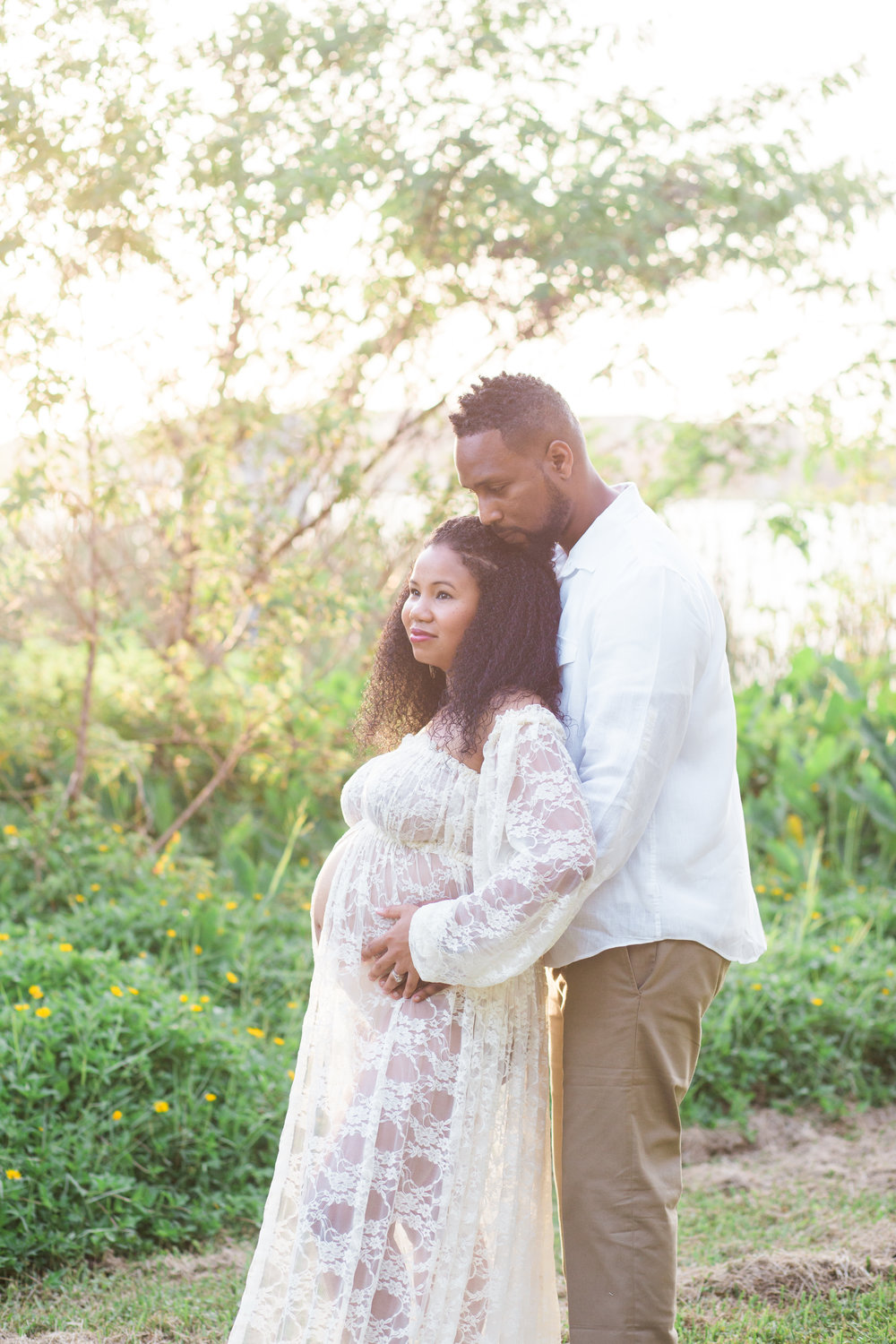 st pete maternity session with a white dress