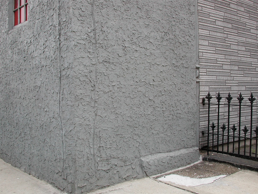 Gray with Black Grid & Red Trapezoids, Williamsburg, Brooklyn 2001