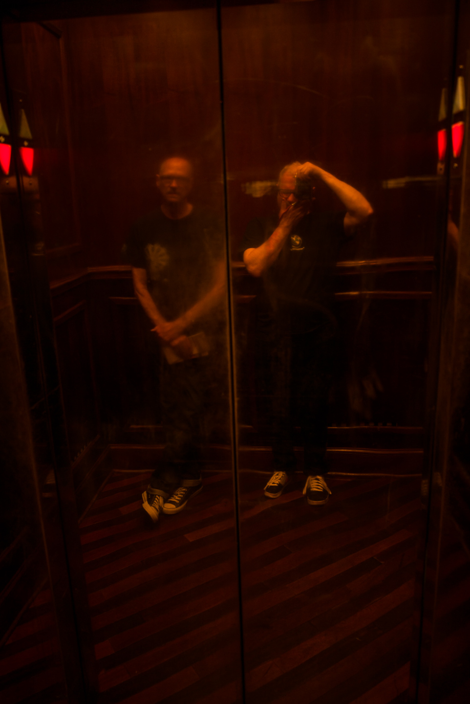 Dennis & Me in the Elevator. Johnson City, Tennessee 2015