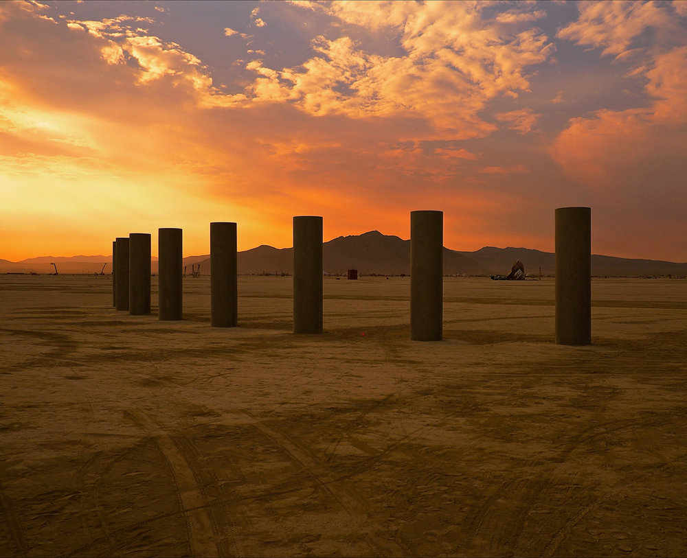 The columns greeting the dawn at Burning Man 2013.