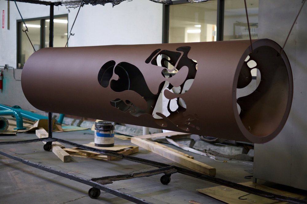 Here's a freshly painted pillar hanging at Reliable Powder Coating in Oakland!