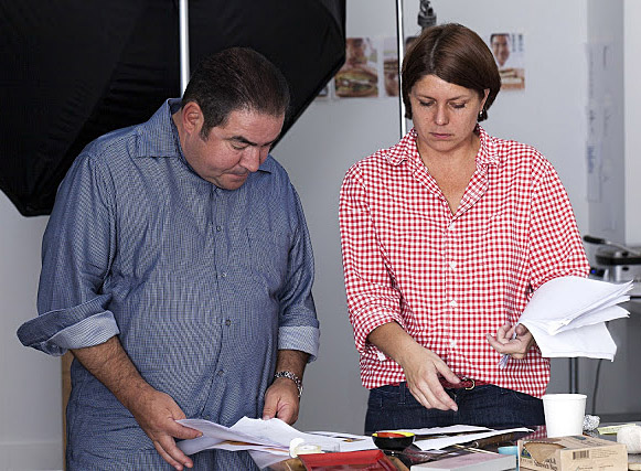 Working with Emeril Lagasse at Martha Stewart Living Omnimedia on his latest book, Kicked Up Sandwiches. Photo by Steven Freeman.