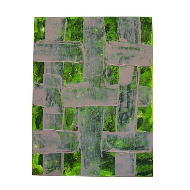 Quickly weave a landscape ii • • • • • • • • #jadeabner #landscapepainting #contemporarypainting #weaving #wovenwallhangig #weave #painting #green #grey #austinartist #atxartist #atxlife #greenery #sidewalks