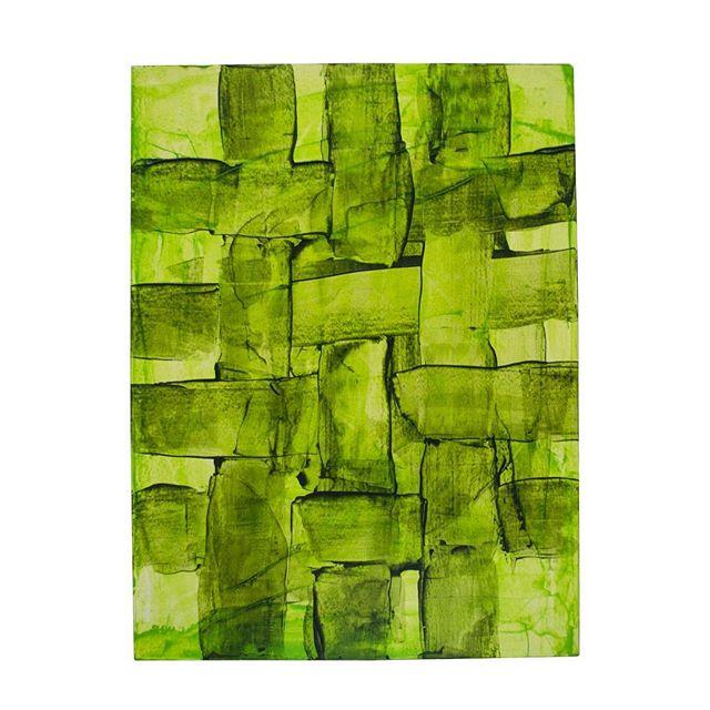 Quickly weave a landscape #jadeabner #painting #weaving #landscapepainting #greenery #foilage #quickpainting #inkpainting #atxlife #atxartist #austinartist