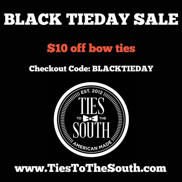 Only two hours left!! Get your bow ties for only $28! #tiestothesouth #blackfriday #blacktieday #sale