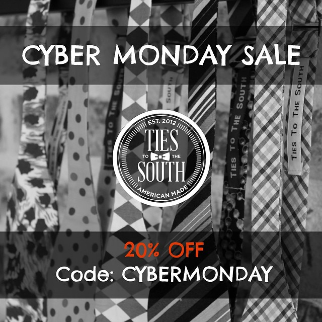 All bow ties 20% off with free shipping! Use code CYBERMONDAY at checkout. www.TiesToTheSouth.com #tiestothesouth #cybermonday
