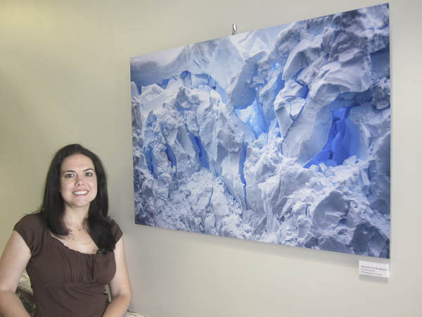 "Kristina next to ""Antarctic Ice Sculpture"""