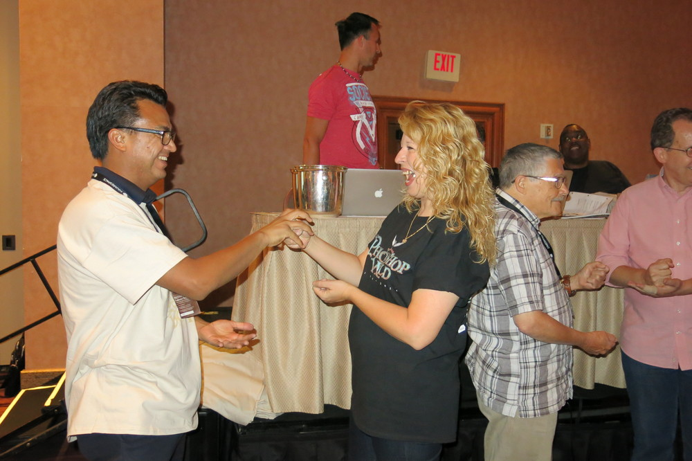 Participants play games like Rock, Paper, Scissors for great prizes