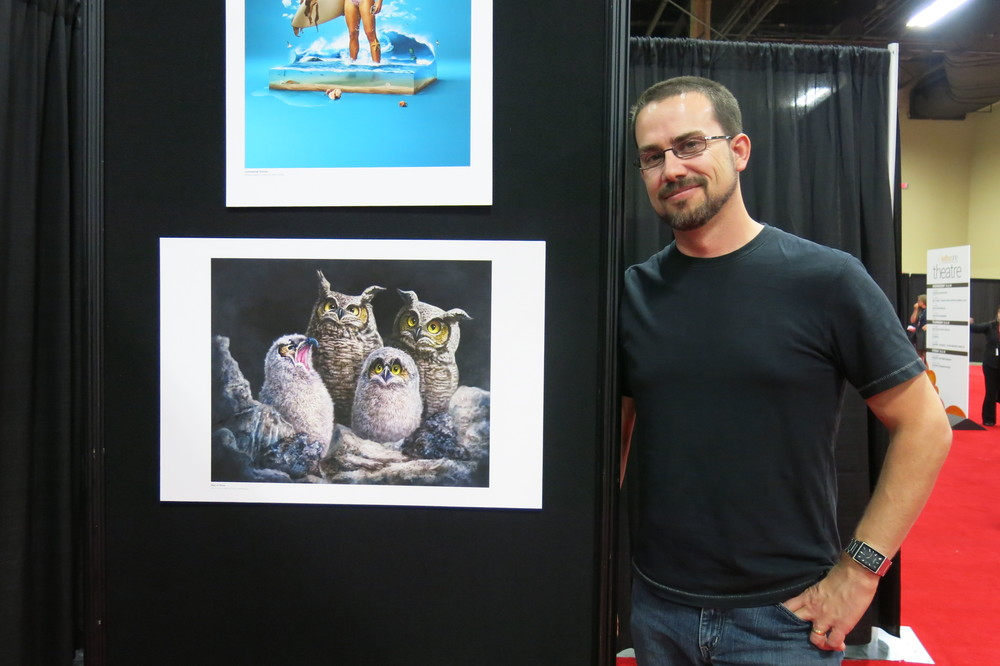 Patrick LaMontagne next to his award winning work.