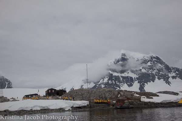 Passengers from Quark Expeditions Sea Spirit arrive at Port Lockroy