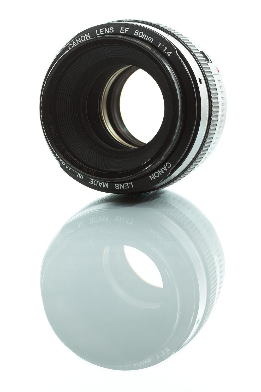 fig 6. Canon EF 50mm på sin största bländaröppning f 1.4, sett från en vinkel