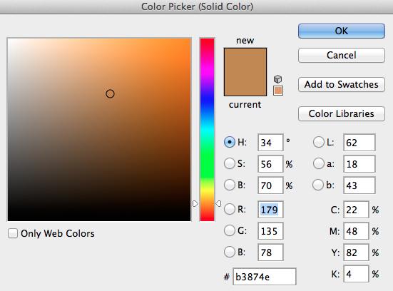 Jag valde färgen #B3874E