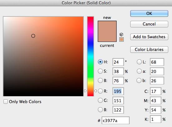 Till hudfärg använder jag i detta fall #C3977A, observera att denna färg inte alltid gäller för hudfärg