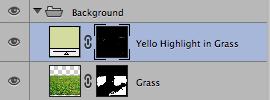 För att få ytterligare lite liv i gräset lägger jag en gulare ton på några ställen för att det ska se lite torrare ut