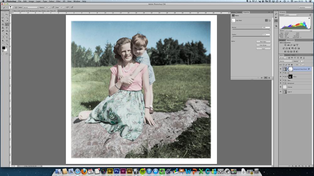 Bild med reducerad färgmättnad i skuggorna