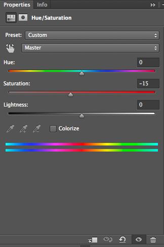 Fig 23. Med ett Hue/Saturation lager justeras den globala färgmättnaden ner något