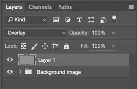 """bild 9. Ändra lagrets blandningsläge till """"Overlay"""" (täcka över)"""
