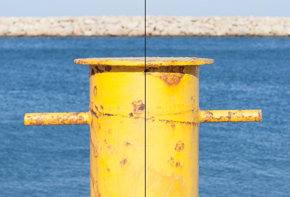 bild 13. Bilden är skärpt på höger sida, inget är gjort på vänster sida