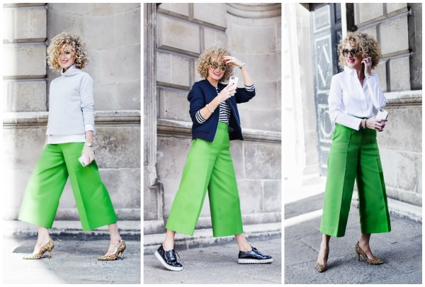 Look 1 = Grey Jumper from Cos, White shirt from cos, Culottes from Cos, Shoes from Topshop  Look 2 = Navy Bomber from Topshop, Stripped Top from Cos, Shoes from Zara, Sunglasses from Prada   Look 3 = White Shirt from Cos, Culottes from Cos, Shoes from Topshop, Sunglasses from Prada