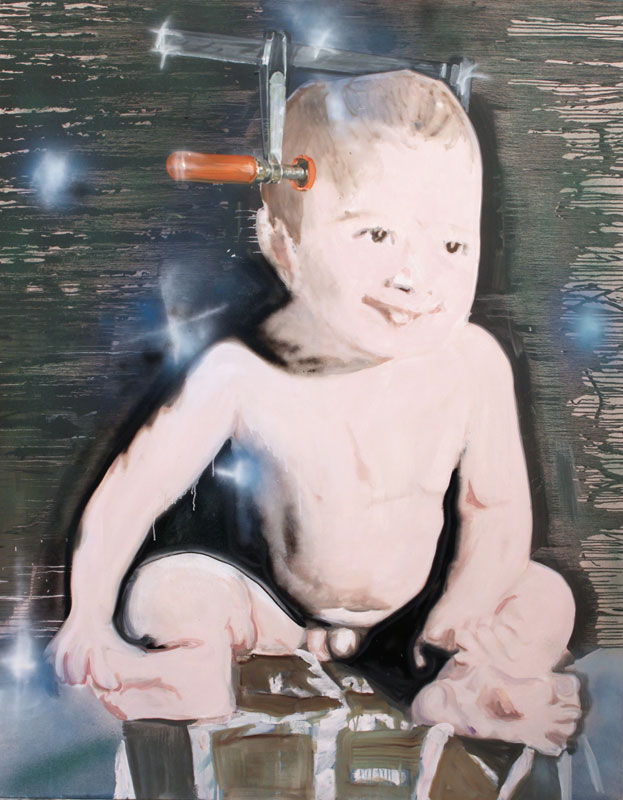 Flat Head  (2010)  Oil and spray paint on canvas  230 * 180 cm