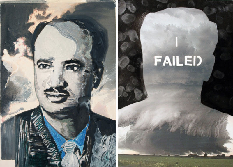 I Failed  (2010)  Oil and mixed media on printed paper  Diptych  42 * 32 Each
