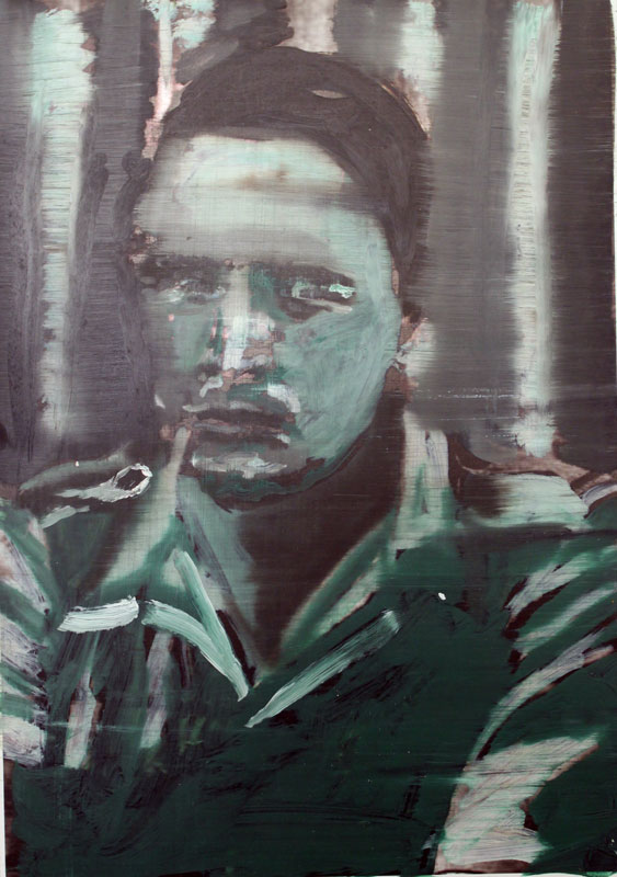Khadafi  (2010)  Oil and spray paint on printed paper  42 * 30 cm