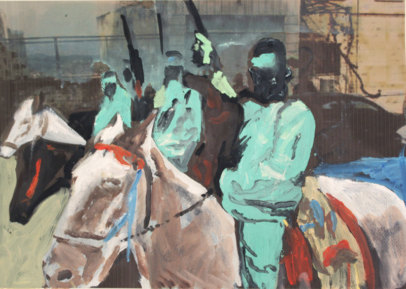 Mule Cavalry  (2010)  Oil on printed paper  30 * 42 cm