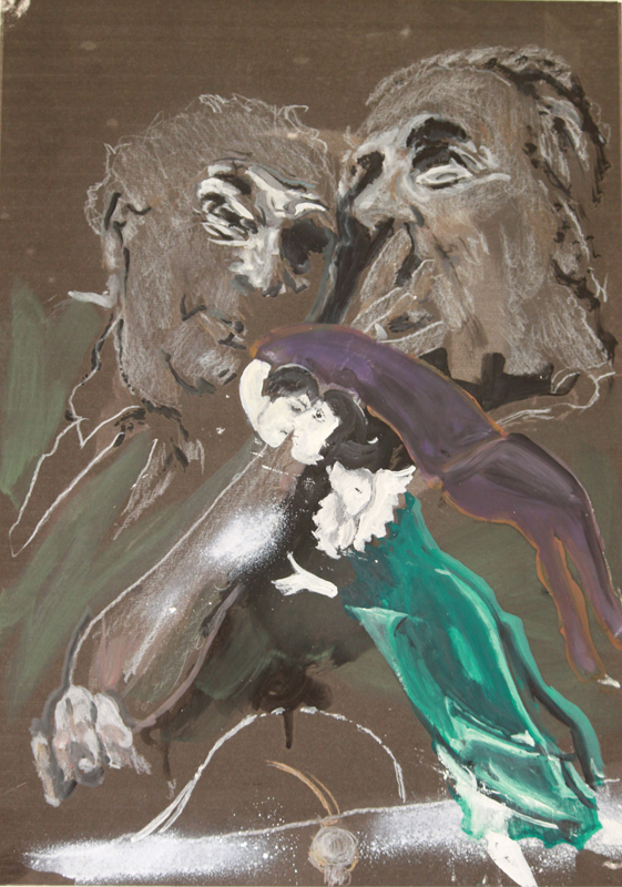 The Artist and the Fartist  (2010)  Oil, spray paint and pencil on paper  42 * 32 cm