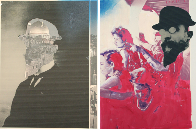 The Banker  (2010)  Oil, spray paint and mixed media paper  Diptych  42 * 32 cm each